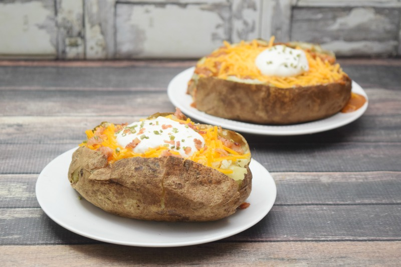 Two ways to make baked potatoes for a perfect single serving meal.