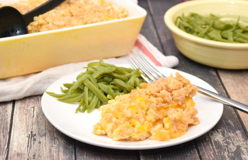 Microwave Cheesy Tuna Noodle Casserole with green beans.