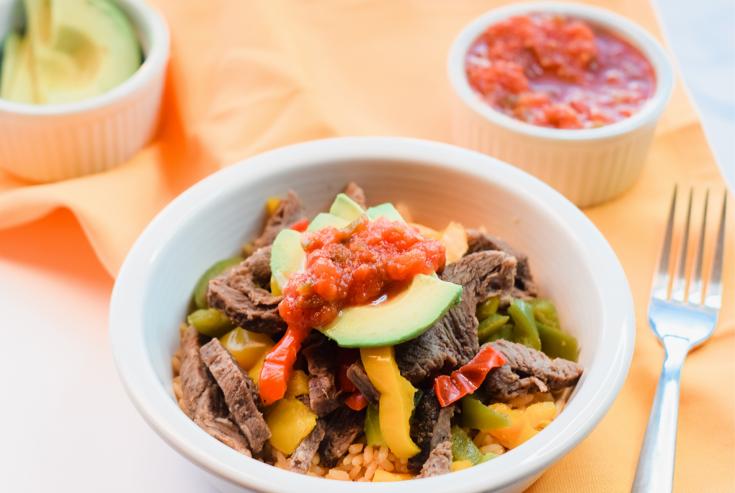 Microwave Beef Fajita Bowl