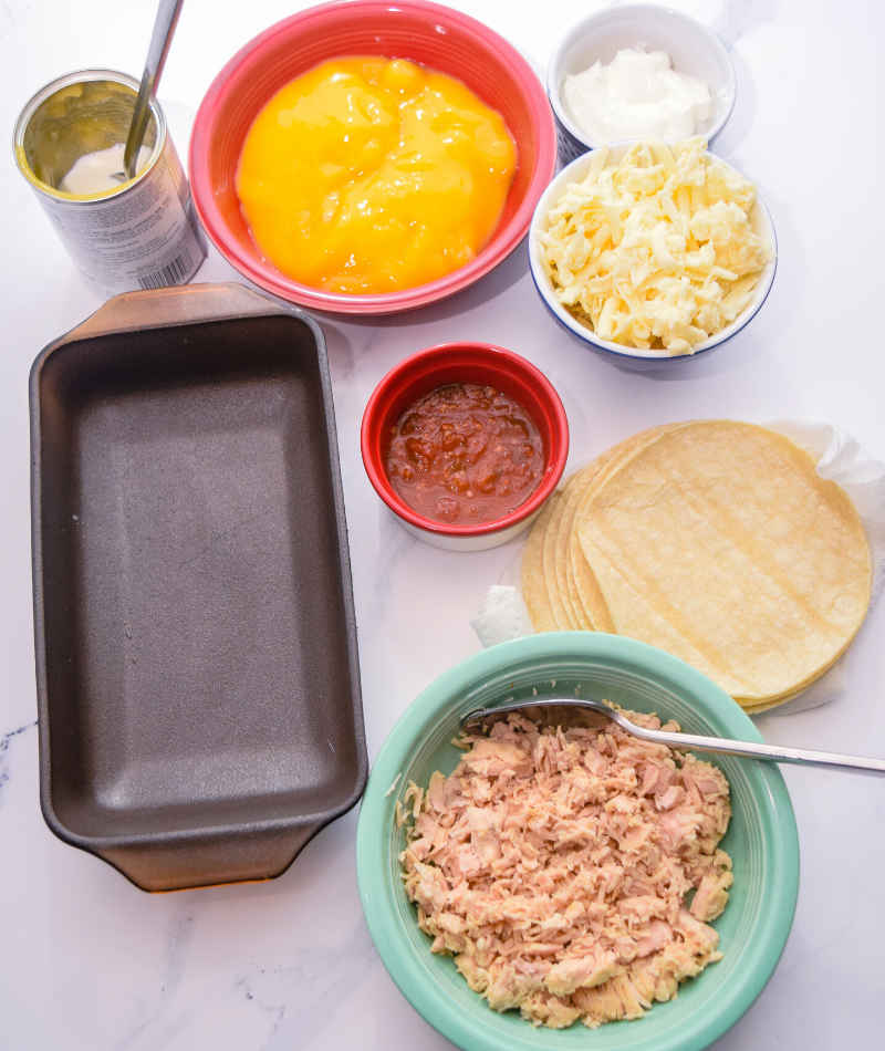 Ingredients to make Microwave Chicken Enchiladas