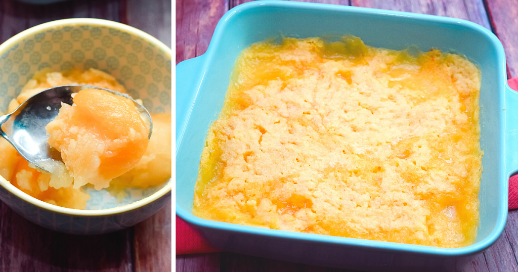A collage photo of the full 8 x 8 dish of microwave peach cobbler and a bowl of peach cobbler with a spoonful of it held up to the camera.