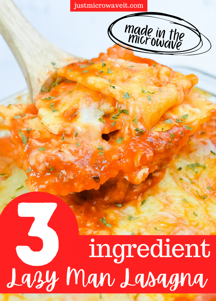 Title image with an extreme close up of the ravioli in the 3-ingredient lazy-man lasagna