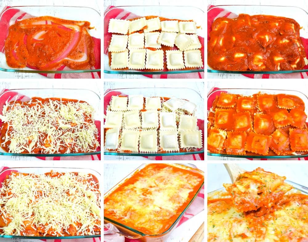 Collage images of how to layer the 3-ingredient lazy man lasagna