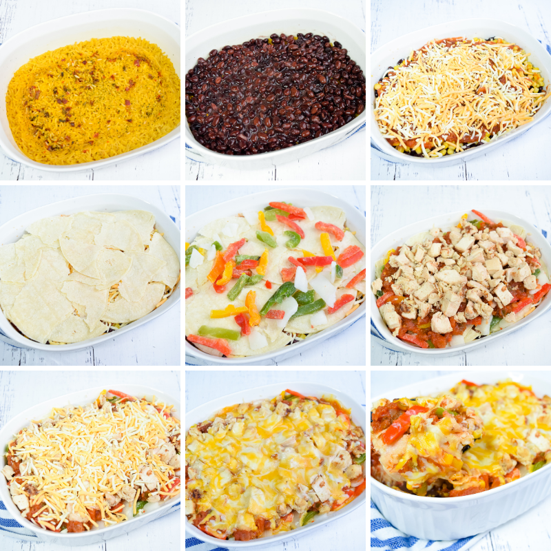 Collage of 9 photos showing each layer to make the Microwave Mexican Casserole