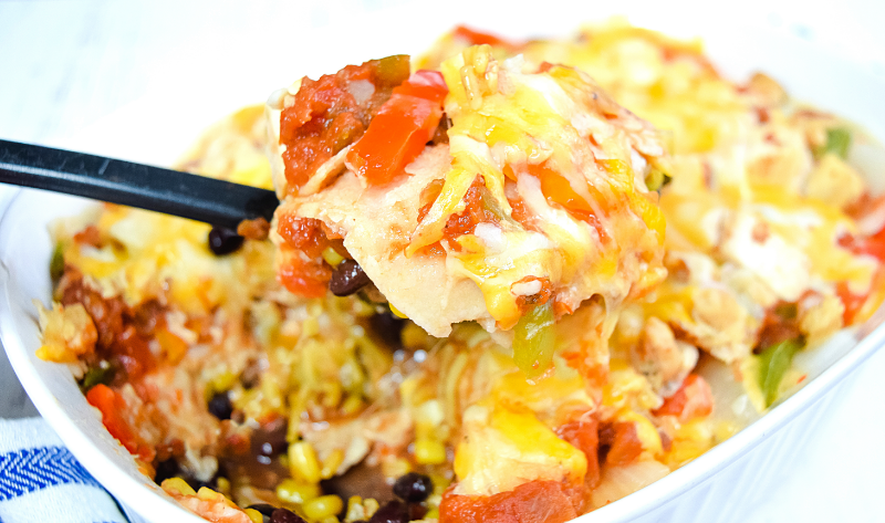 Close up spoonful of Microwave Mexican Casserole
