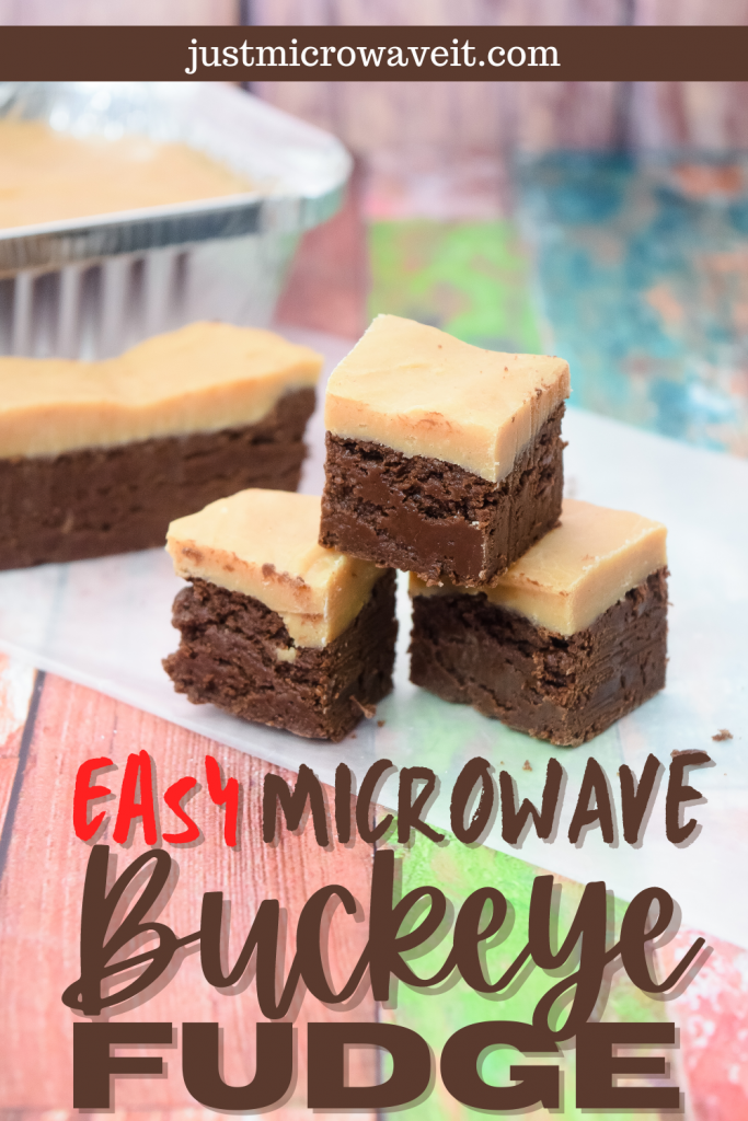 Easy Microwave Buckeye Fudge with layers of chocolate and peanut butter fudge.
