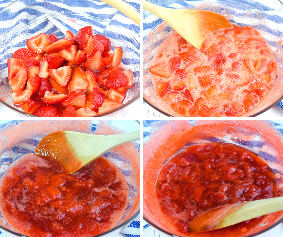 Collage of four images to show the process of making strawberry preserves in the microwave.