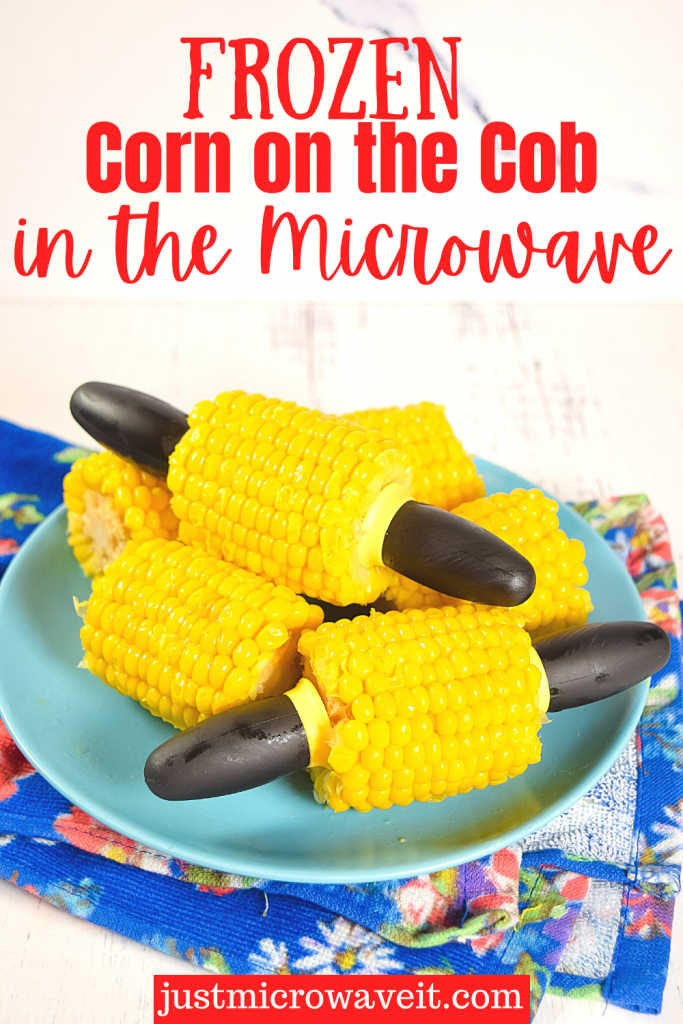 Title image for frozen corn on the cob in the microwave with mini ears of corn on a blue plate with corn cob holders