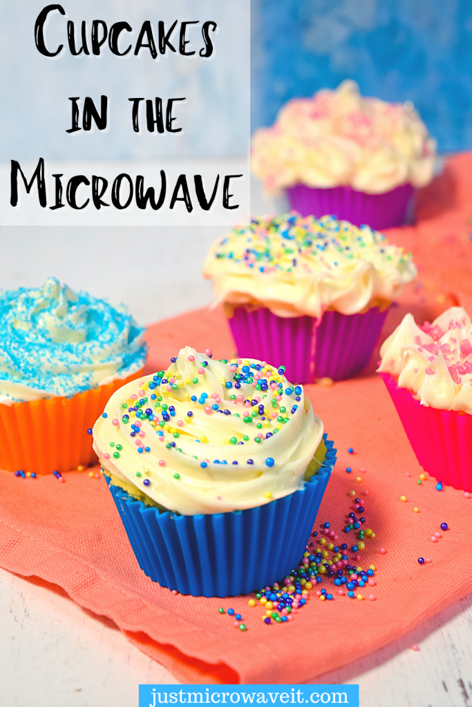 Title image for Cupcakes in the Microwave with multicolored cupcakes in silicone cupcake liners