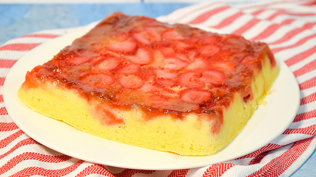 Finished Microwave Strawberry Upside Down Cake