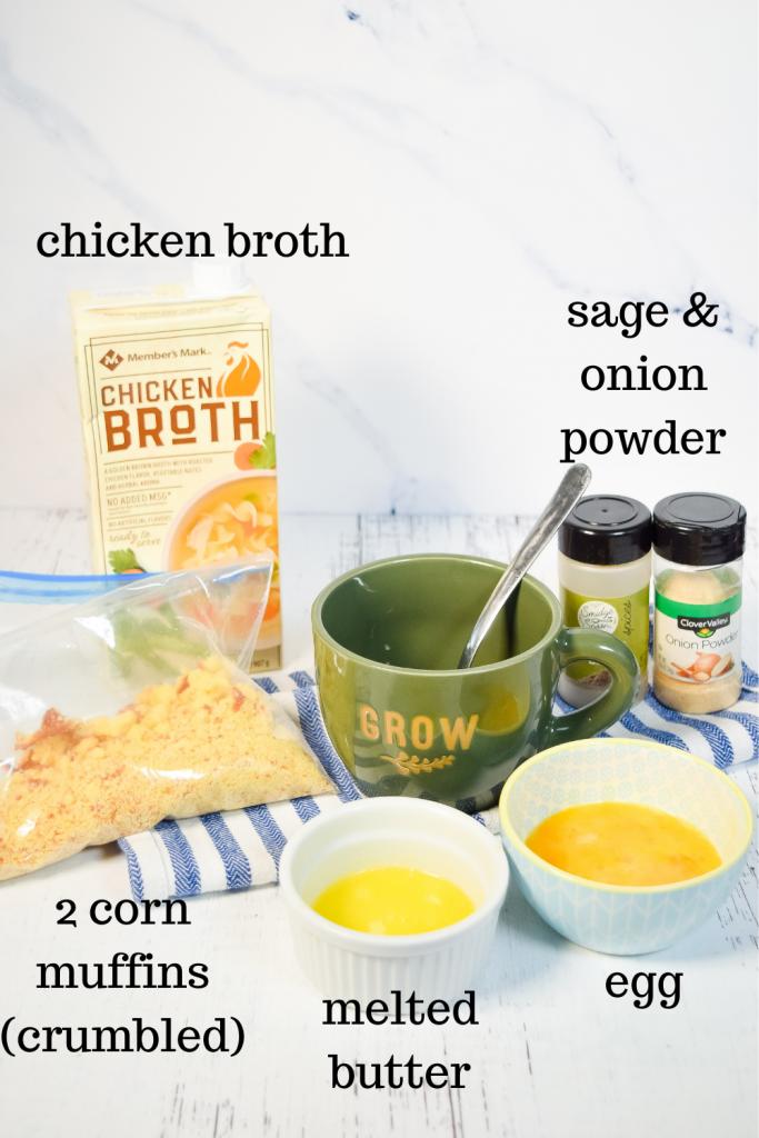 Ingredients to make Cornbread Dressing in a Mug
